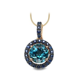 Złoty wisiorek Topaz London Blue